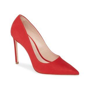 SCHUTZ Lou Red Suede Leather Pointed Toe Pumps